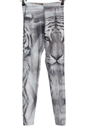 BAMBAM Leggings hellgrau-schwarz Allover-Druck extravaganter Stil