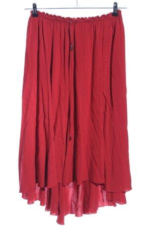 Jupe taille haute rouge style décontracté