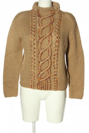 Bamboo Coarse Knitted Sweater natural white-brown casual look