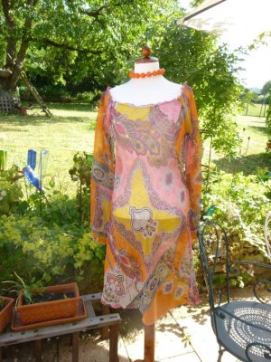 Bamboo Tunique-blouse orange-rose