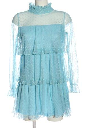 Bamboo Flounce Dress blue spot pattern elegant