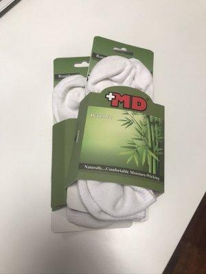Bambus Sneaker Socken Weiß Gepolstert 4 Paar Gr. 39 - 42