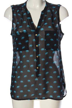 Banana Republic Mouwloze blouse zwart-blauw prints met een thema
