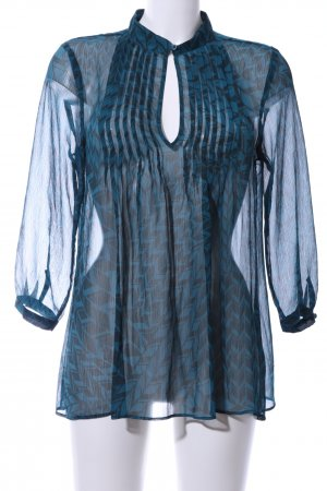 Banana Republic Transparenz-Bluse blau-schwarz Allover-Druck Casual-Look