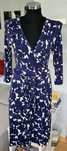 Banana Republic Wickelkleid Jerseykleid Midi Kleid Stretch Knielang XS blau-weiß
