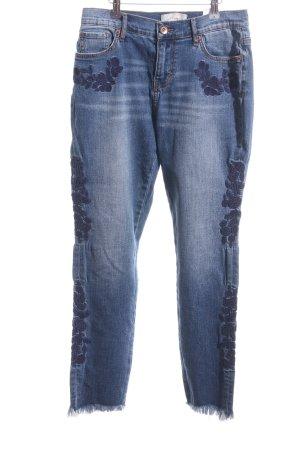 Band of Gypsies 7/8-jeans donkerblauw bloemenprint gewassen uitstraling
