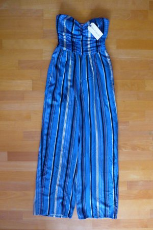 Band of Gypsies Boho Overall Jumpsuit blau gestreift Gr. 34 XS 36 S NEU