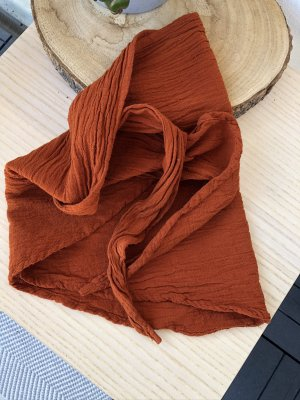 handmade Halsdoek roodbruin Katoen