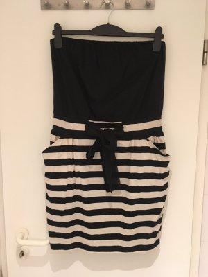 Mango Casual Sportswear Vestido bandeau negro-blanco puro Algodón