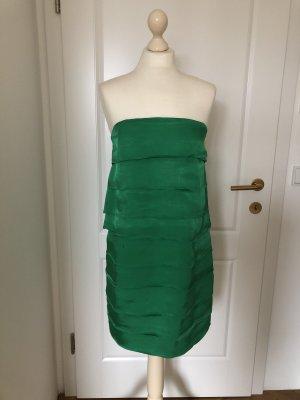 Bandeau Kleid Volants Satin grün