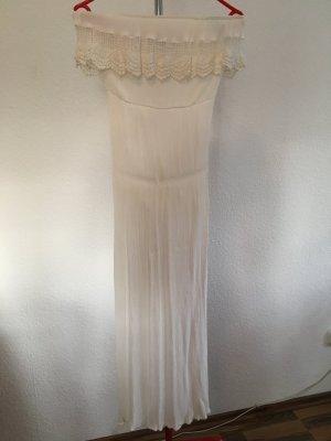 Bandeau Kleid weiß lang 36