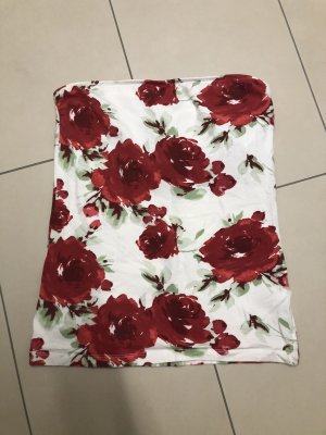 Only Bandeau Top white-red
