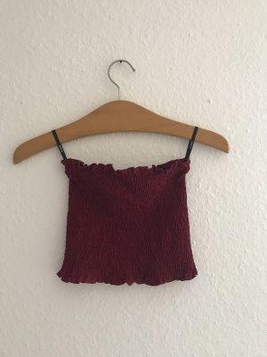 SheIn Top z dekoltem typu bandeau bordo-głęboka czerwień