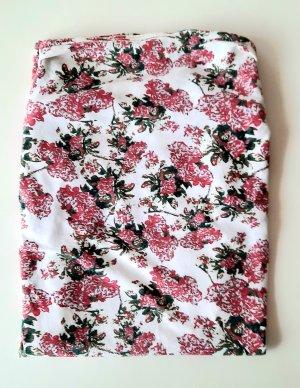 Vero Moda Top z dekoltem typu bandeau biały-jasny różowy
