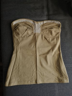 Melrose Top z dekoltem typu bandeau khaki