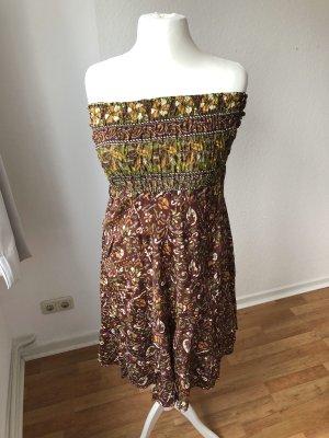 Bandeau Dress light brown-bordeaux
