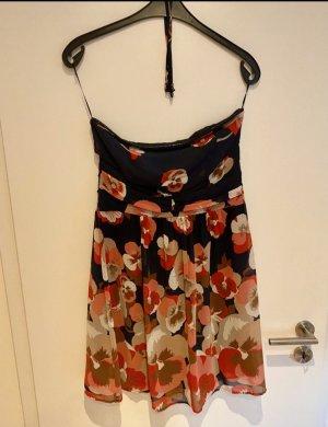 Esprit Sukienka z dekoltem typu bandeau ciemnoniebieski-jasnoczerwony