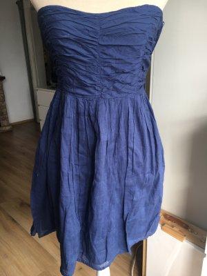 Zara Trafaluc Sukienka z dekoltem typu bandeau stalowy niebieski