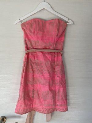 H&M Bandeau Dress neon pink-cream
