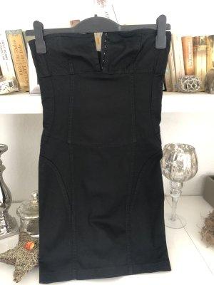 Amisu Sukienka z dekoltem typu bandeau czarny