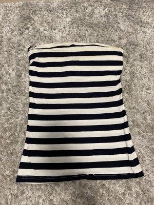 H&M Basic Haut bandeau blanc-bleu foncé