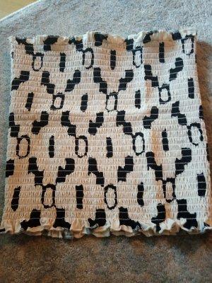 H&M Top a fascia nero-bianco sporco Cotone