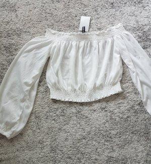 H&M Top z dekoltem typu bandeau biały