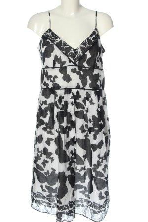 Bandolera Empire Dress white-black themed print casual look