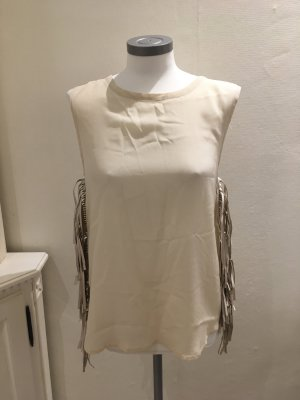 Barbara Becker Shirt Top Bluse Seide champagner beige Fransen 36 S