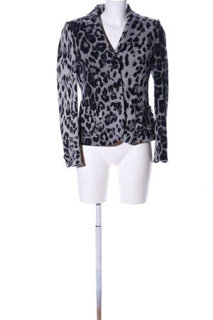 Barbara Kessels Blazer court gris clair-noir motif animal style décontracté
