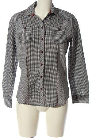 BARBARA LEBEK Camicia da boscaiolo bianco-nero motivo a quadri stile casual
