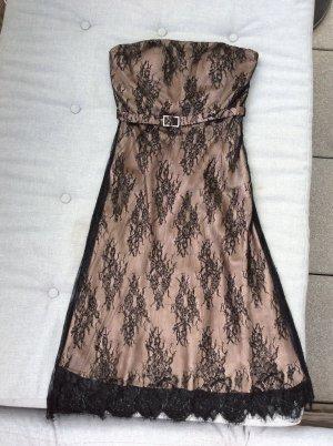 Barbara Schwarzer Abendkleid rosé Unterkleid mit schwarzer Spitze und Steinchen