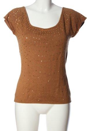 Barbara Schwarzer Sweter z krótkim rękawem brązowy W stylu casual