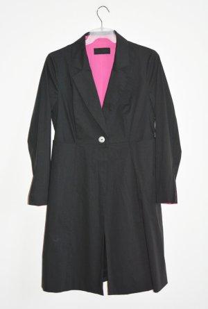 Barbara Schwarzer Mantel Gehrock schwarz pink Topzustand Gr. 42