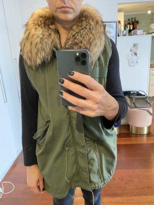 Barbed Fur vest olive green-dark green