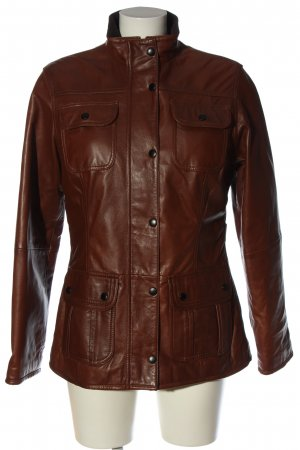 Barbour Leather Jacket brown casual look