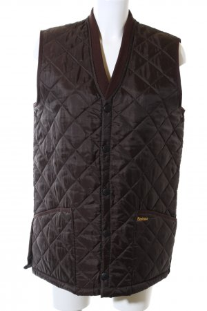 Barbour Quilted Gilet brown embroidered lettering casual look
