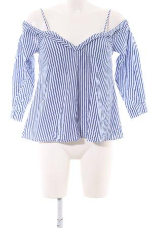 Bardot Langarm-Bluse kornblumenblau-weiß schlichter Stil