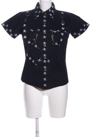 Camisa de manga corta negro-blanco estampado temático estilo extravagante