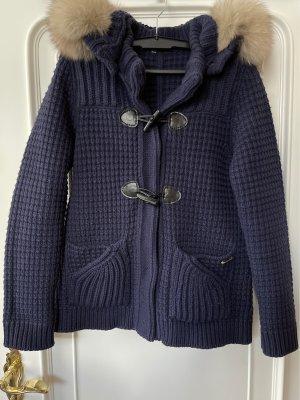 Bark Coarse Knitted Jacket dark blue