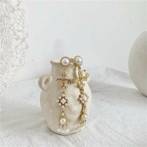Barocke Stil Tropfen Chandelier baumeln vergoldete Perlen Ohrringe mit Zirkon vintage retro