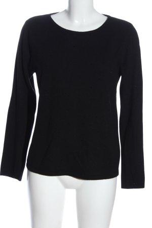 Bartolini Kraagloze sweater zwart casual uitstraling