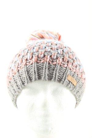 Barts Pudelmütze blau-pink Zopfmuster Casual-Look