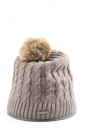 Barts Bobble Hat brown cable stitch casual look