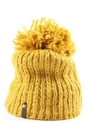 Barts Gorro con borla amarillo pálido estampado temático look casual