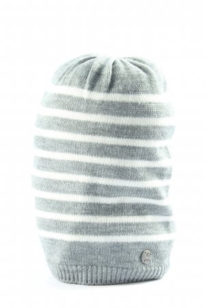 Barts Knitted Hat light grey-white striped pattern casual look