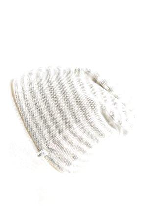 Barts Chapeau en tricot gris clair-crème motif rayé style décontracté