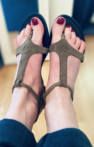 Sandalias con talón descubierto gris verdoso-negro Cuero