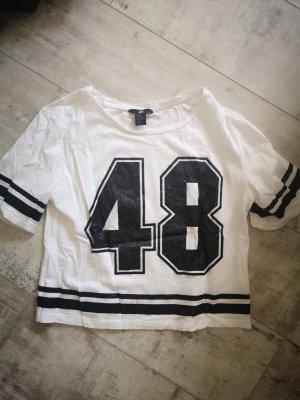 Baseball Shirt T Shirt von H&M Gr.XS weiss schwarz