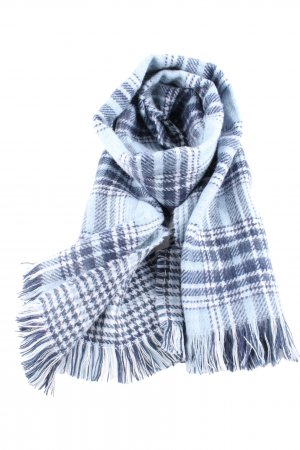 Basefield Fringed Scarf blue-white check pattern business style